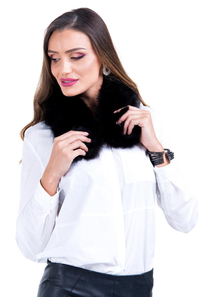 Guler de blana naturala de vulpe polara negru , Carolina Design