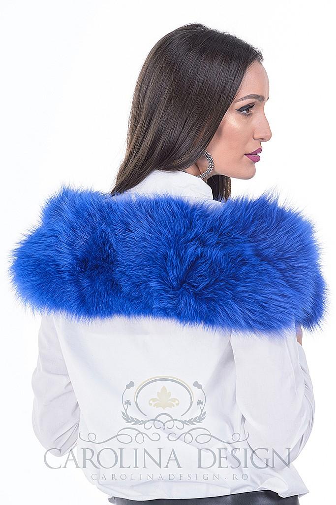 Guler de blana naturala de vulpe polara albastru regal , Carolina Design