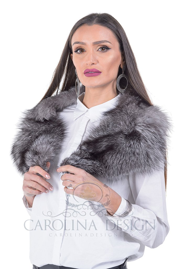 Guler de blana naturala de vulpe argintie frost