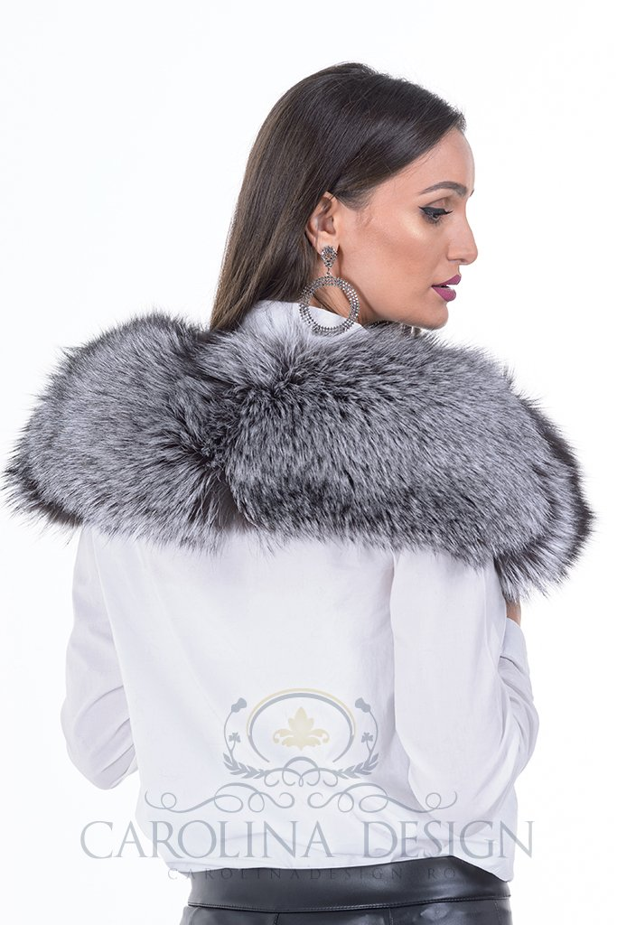 Guler de blana naturala de vulpe argintie
