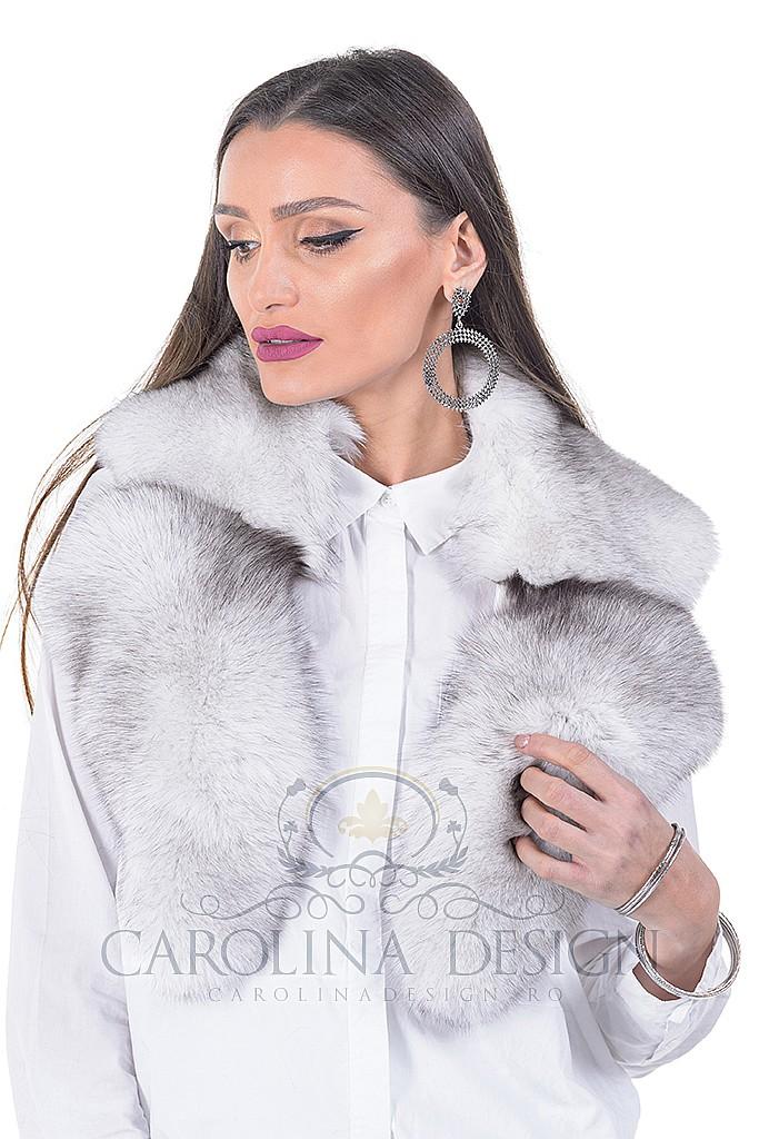 Guler de blana naturala de vulpe polara  , Carolina Design