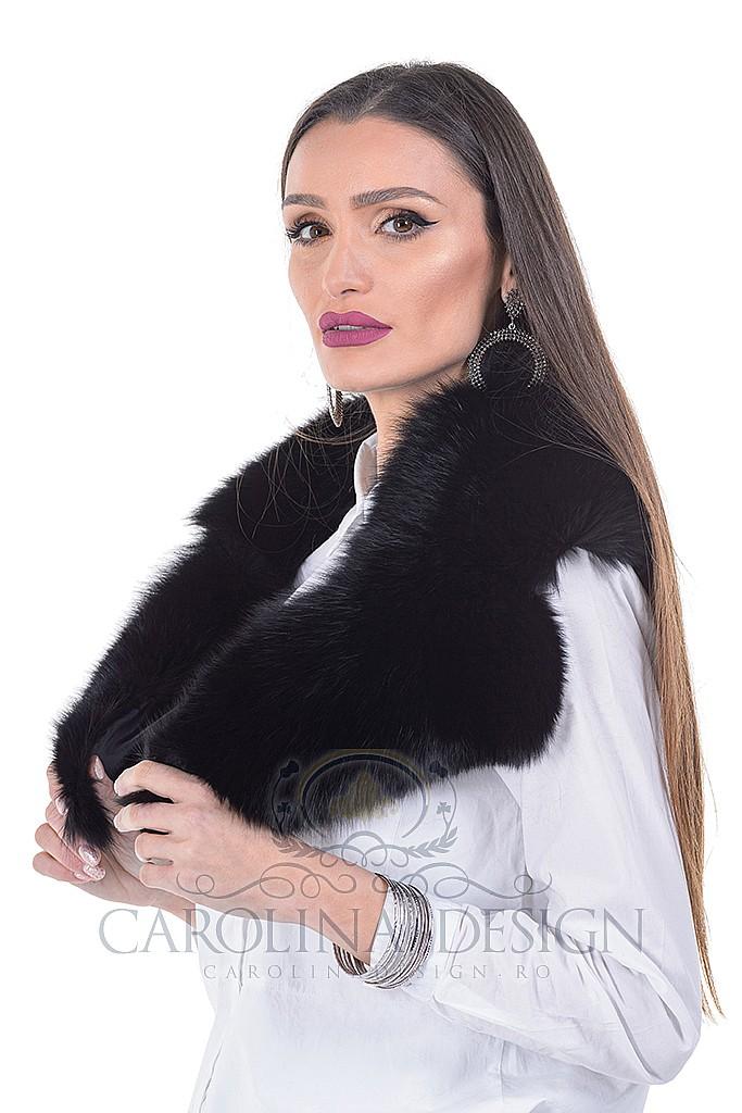 Guler de blana naturala de vulpe polara neagra