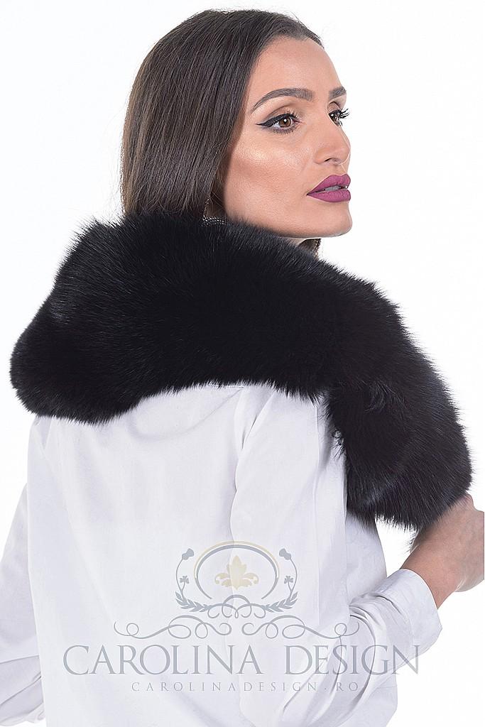 Guler de blana naturala de vulpe polara neagra , Carolina Design