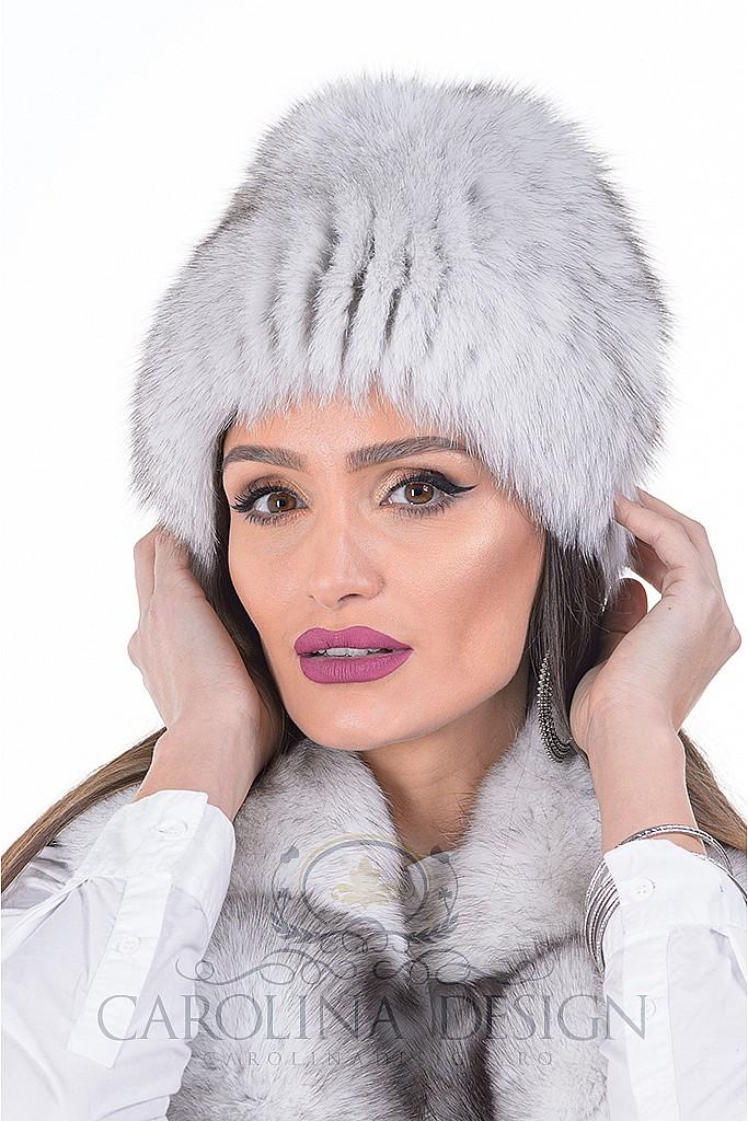 Caciula de blana naturala de vulpe polara pe suport textil , Carolina Design