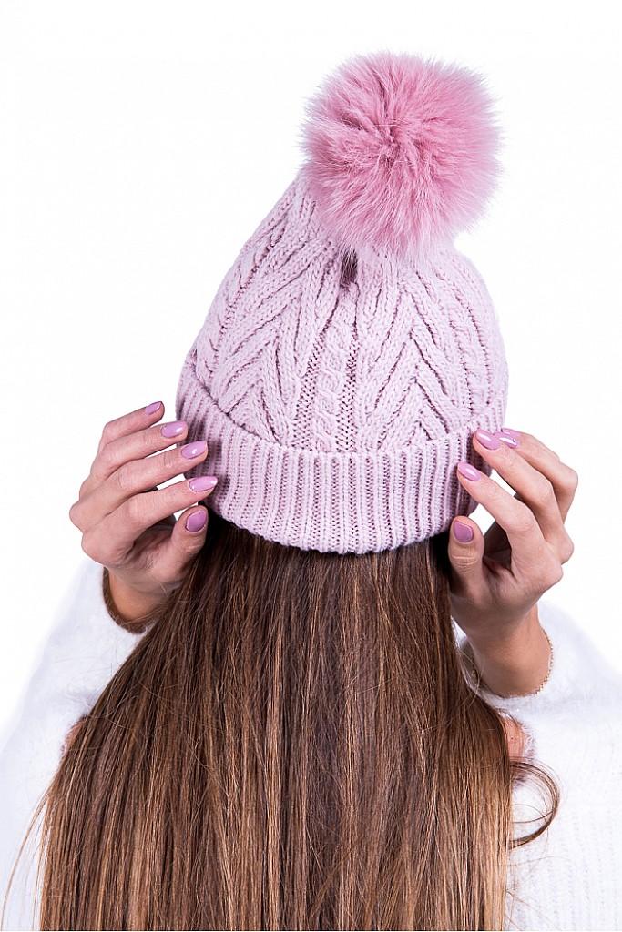 Caciula roz din tricot cu mot detasabil de blana