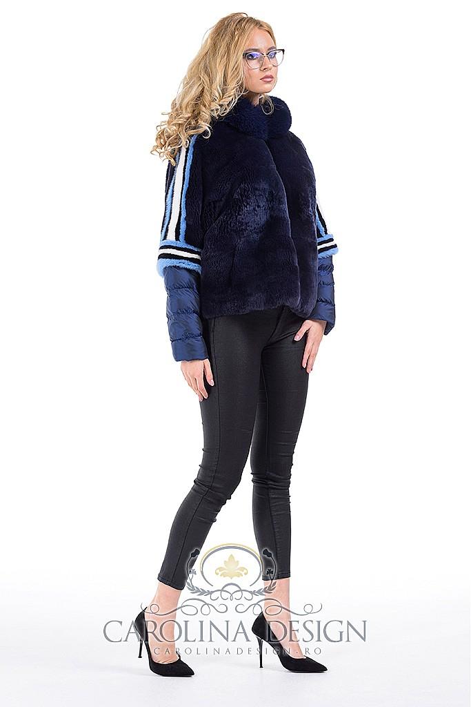 Haina de blana naturala de rex - chinchilla si vulpe Patricia, MK18700 , Navy Blue , Carolina Design