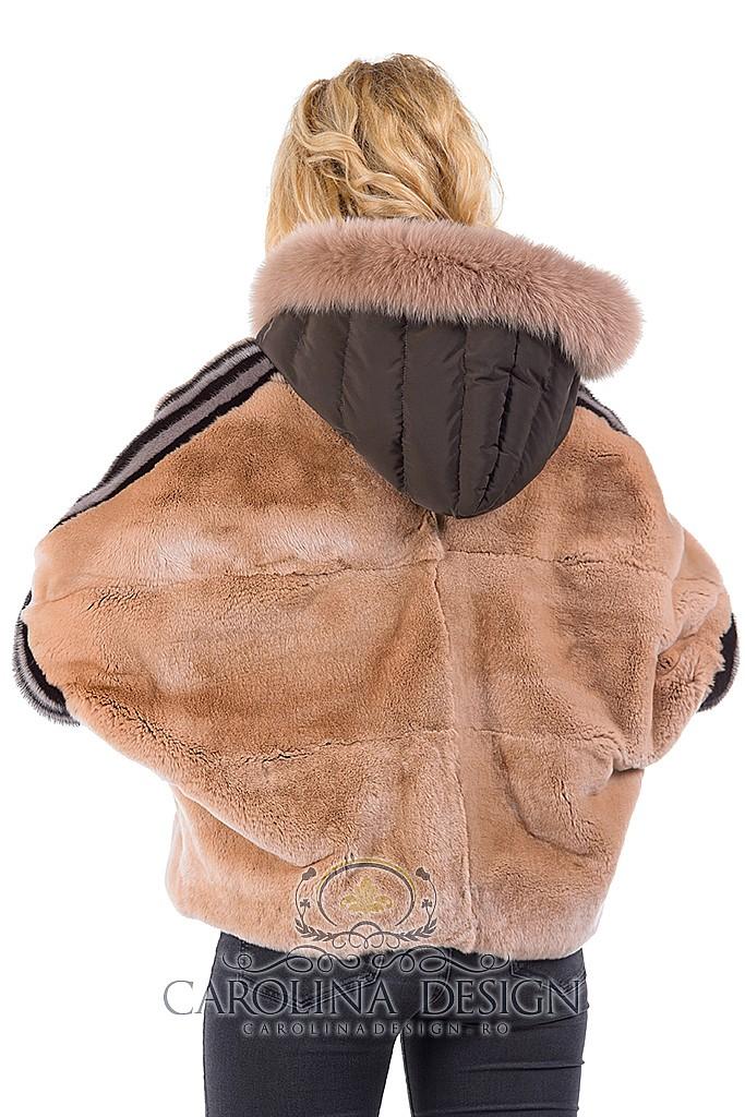 Haina de blana naturala de rex - chinchilla si vulpe Patricia, MK18700 , Wiskey , Carolina Design