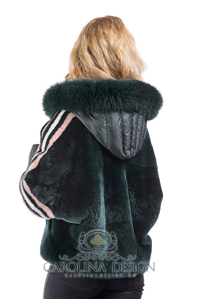 Haina de blana naturala de rex - chinchilla si vulpe Patricia, MK18700 , Green , Carolina Design