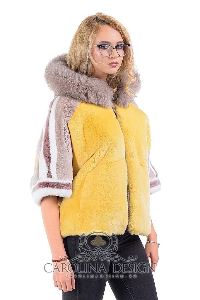 Haina de blana naturala de rex - chinchilla si vulpe Patricia, MK18700 , Beige and Yellow , Carolina Design