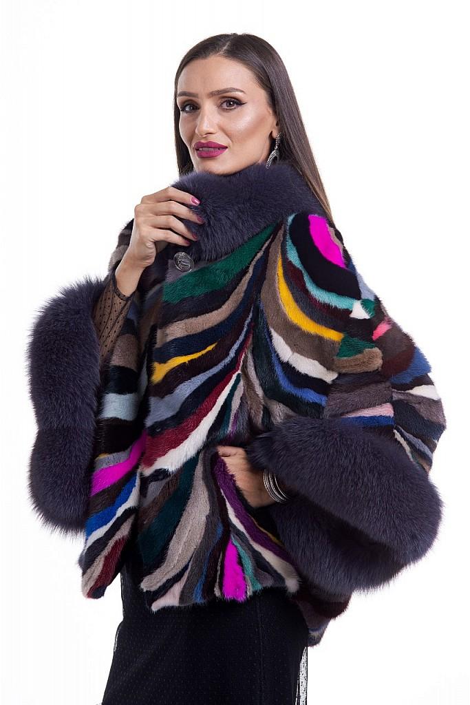 Haina de blana naturala de vizon ( nurca ) , cu vulpe antracit , FLUTURES , Multicolor , Carolina Design