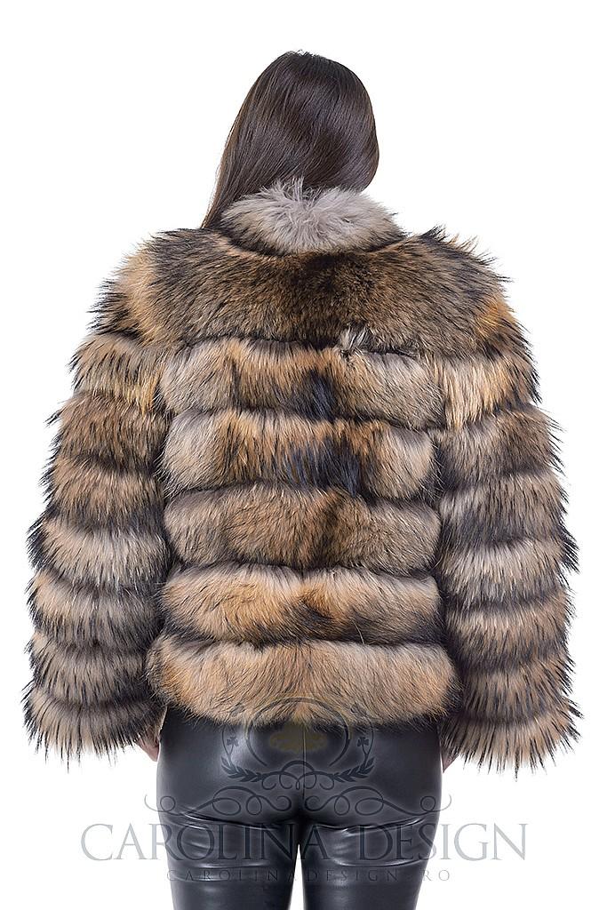 Haina de blana naturala de Raton , cu fermoar si maneci detasabile la 45cm , H8 , Natural , Carolina Design