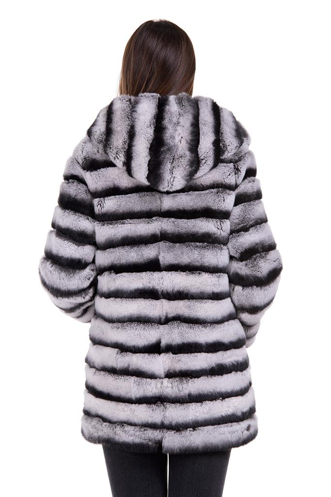 Haina de blana naturala de Chinchilla Rex cu gluga si detasare maneca la 45cm , 155LG , Natural , Carolina Design