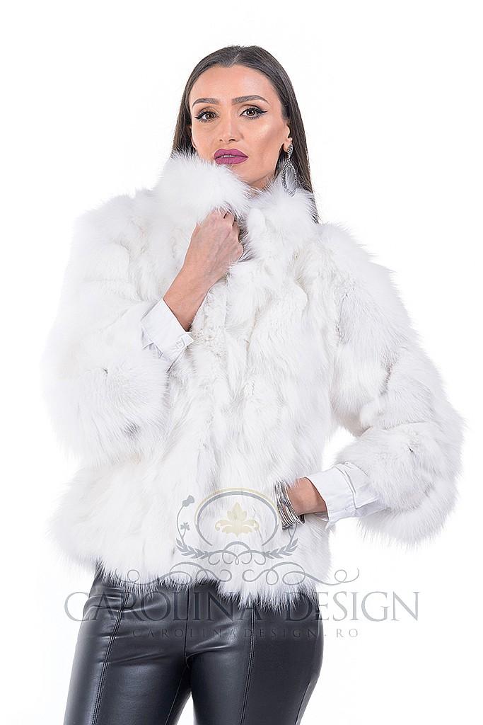 Haina de blana naturala de Vulpe Arctica , cu capse de blana , CDTV.118.S , Natural , Carolina Design