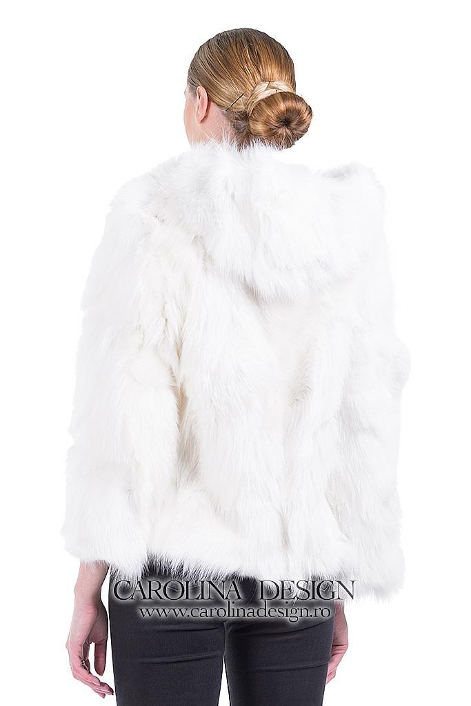 Haina de blana naturala de Vulpe Polara , cu capse de blana si gluga, CDTV.118.S G , Alb , Carolina Design