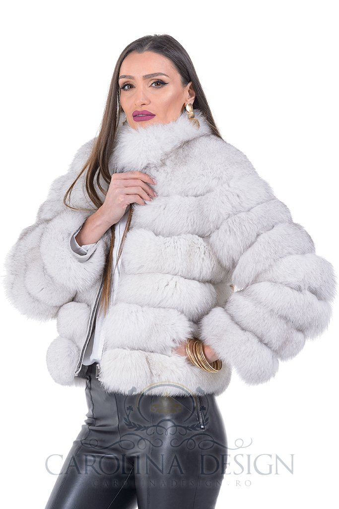 Haina de blana naturala de vulpe polara
