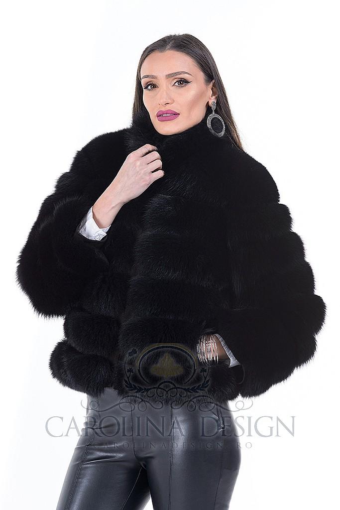 Haina de blana naturala de vulpe polara neagra