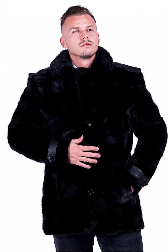 Haina de blana naturala de vizon (nurca ) neagra model Julio