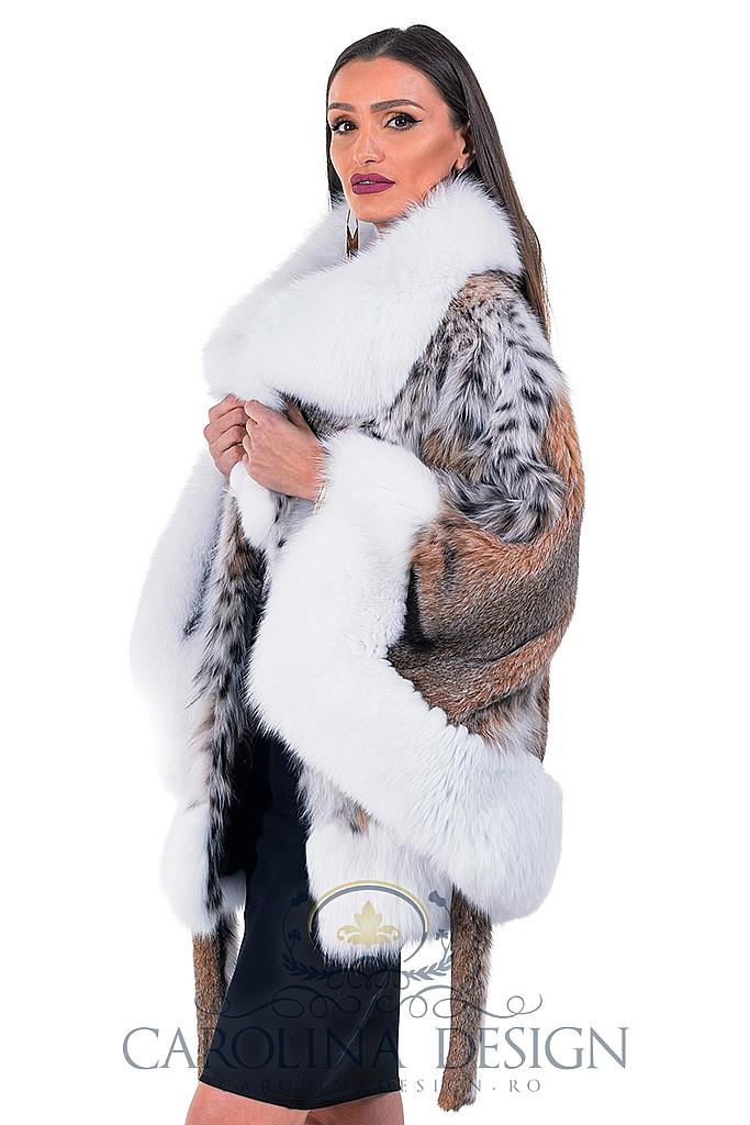 Haina de blana naturala de Linx cu vulpe arctica , 007R , LINX , Carolina Design
