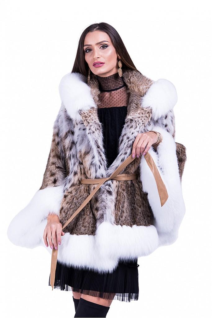 Haina de blana naturala de linx cu vulpe arctica model fluture cu gluga