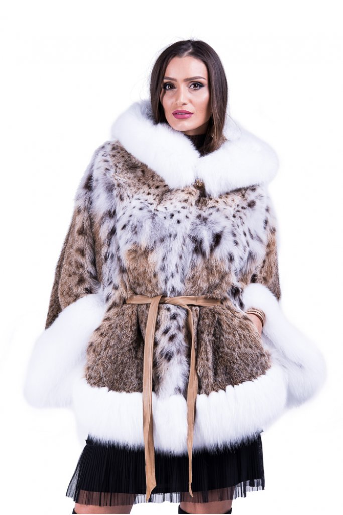 Haina de blana naturala de linx cu vulpe arctica model fluture cu gluga , 007K , Carolina Design
