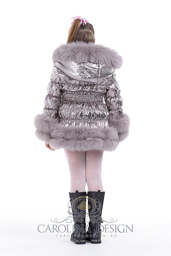 Geaca de fas cu blana naturala de vulpe polara Stefania , MK2378 , silver grey , Carolina Design