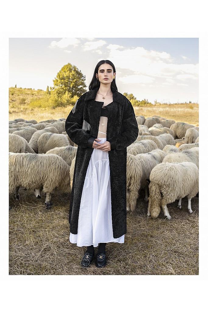 Palton de blana naturala de miel curly Teddy , Heaven , MK301.115 , Black , Carolina Design