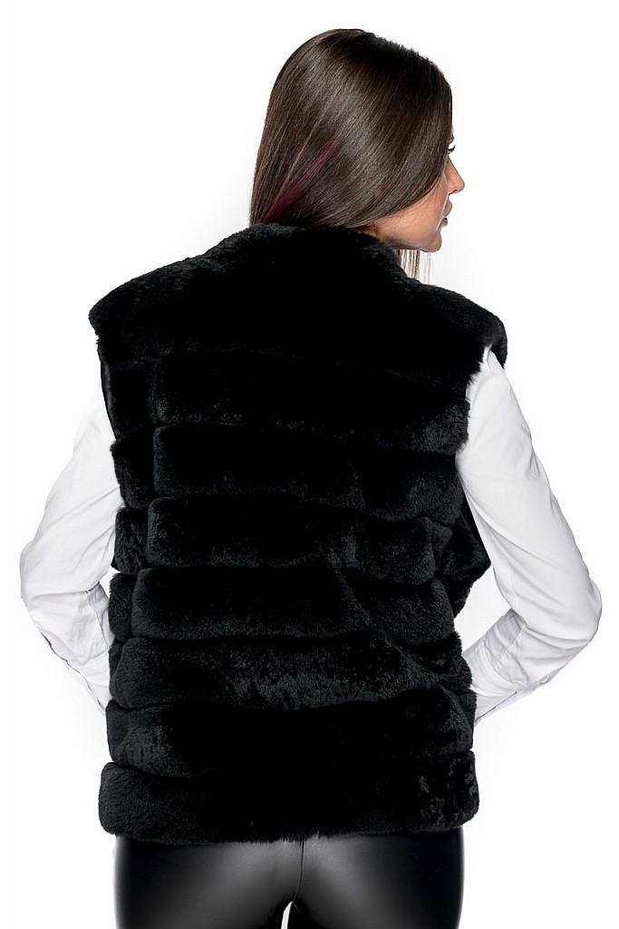 Vesta de blana naturala de chinchilla rex neagra