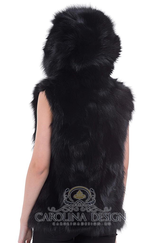 Vesta din blana naturala de Vulpe Polara cu gluga si capse de blana , VBVG60 , Negru , Carolina Design