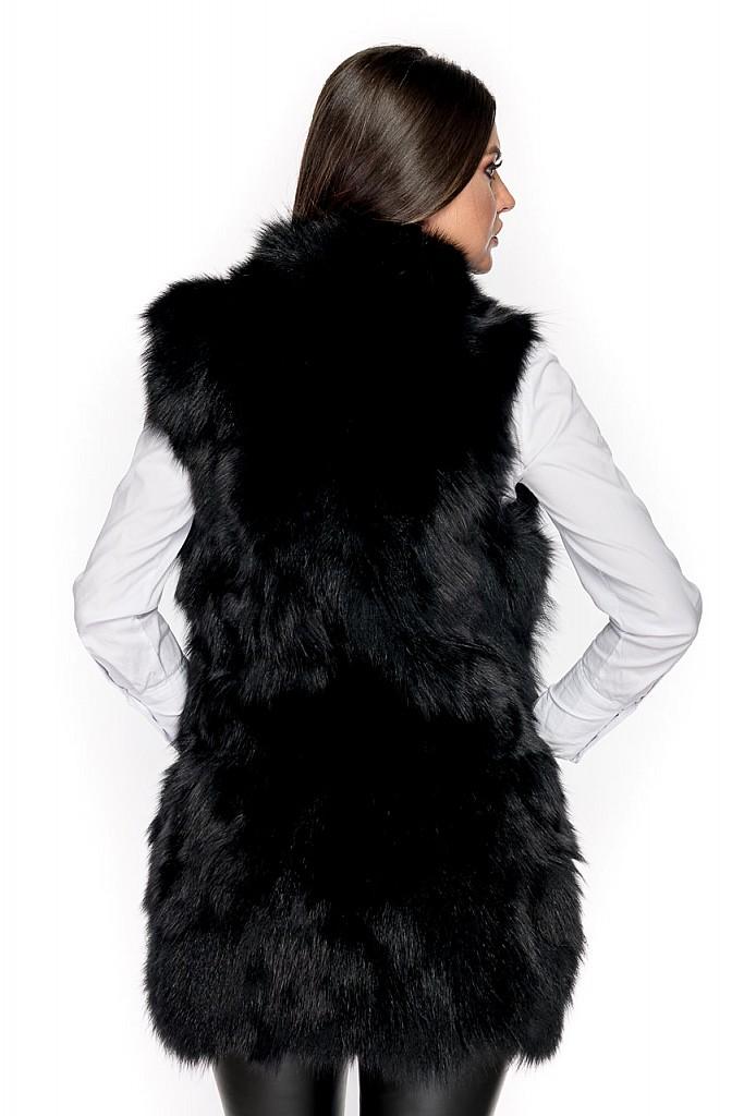 Vesta blana naturala de Vulpe Polara  , cu capse de blana , VBV.75  , Negru , Carolina Design