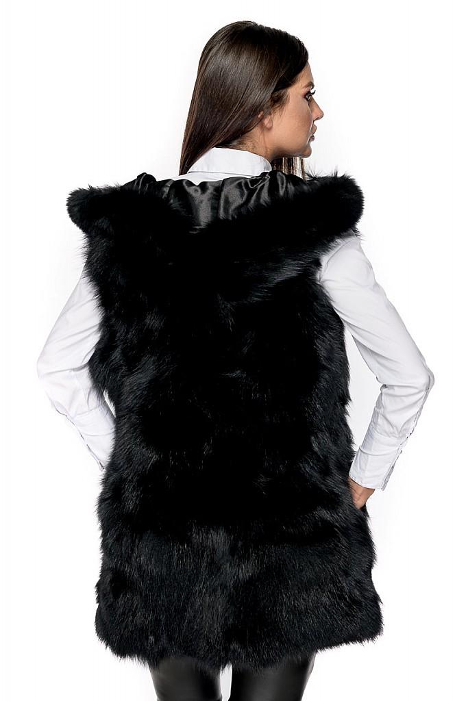 Vesta blana naturala de vulpe polara bucati cu gluga