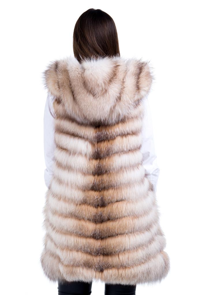 Vesta de blana naturala de vulpe polara gold frost cu gluga