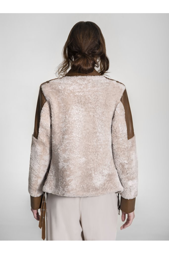 Haina de blana naturala  miel curly cu piele Biker , ELI10111 , Beige , Carolina Design