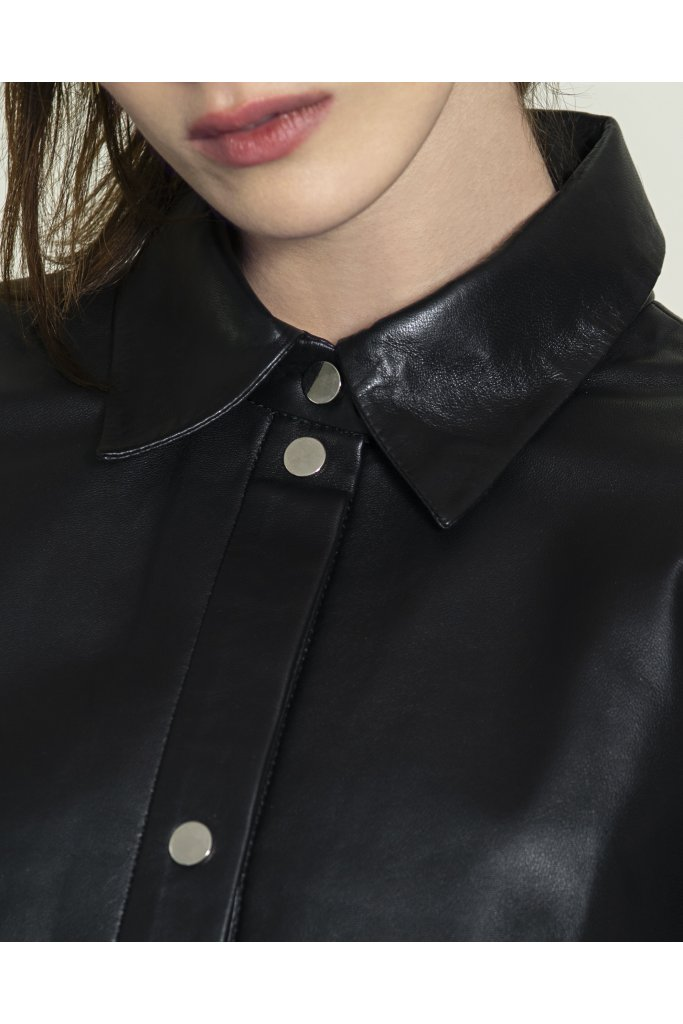 Jacheta de piele naturala 3/4 The Shirt , 1652 , Black , Carolina Design