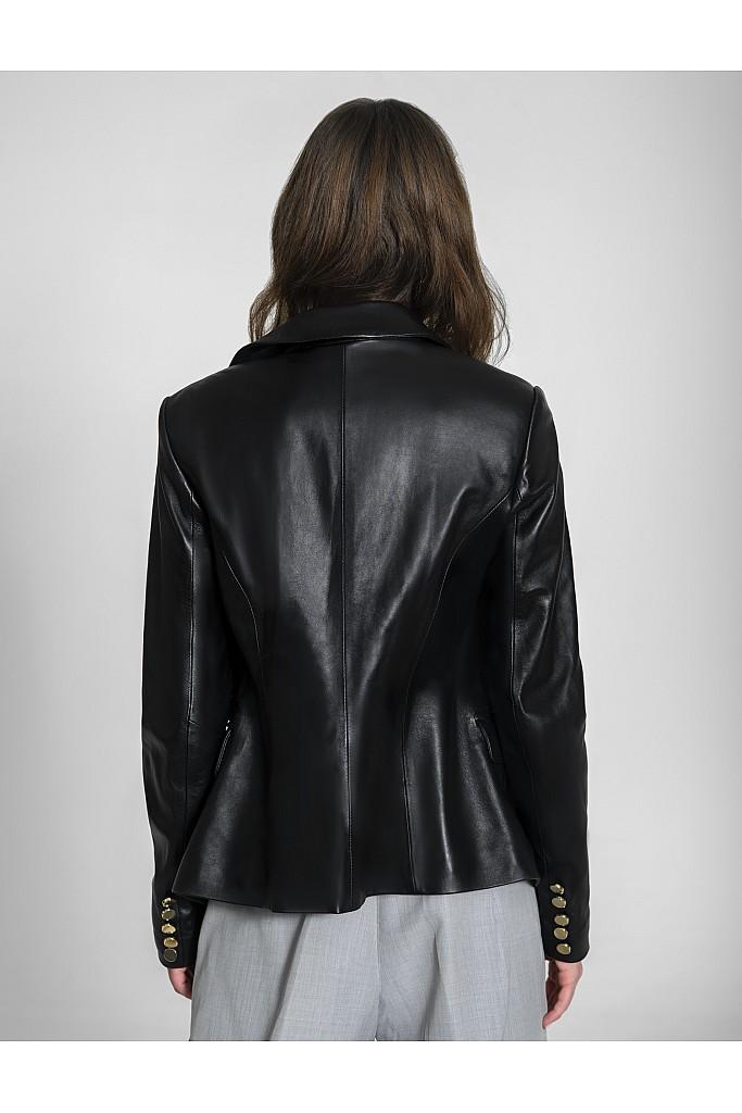 Sacou de piele naturala Fancy Jacket , 1665 , Black , Carolina Design