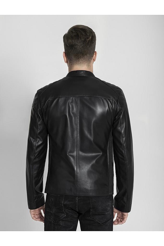 Geaca de piele naturala Max , 621 , Black , Carolina Design
