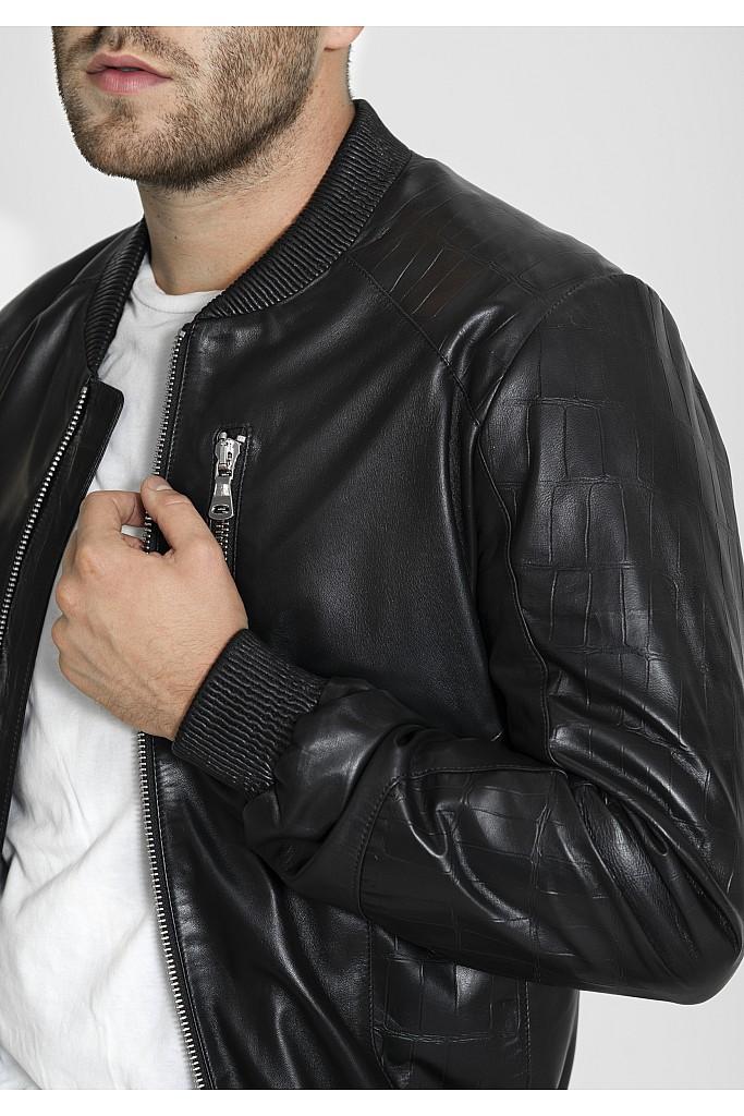 Geaca de piele naturala Eminem , 640 , Black , Carolina Design