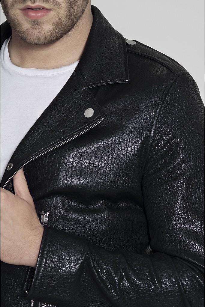 Geaca de piele naturala Beckam , Black Jumbo  , Carolina Design